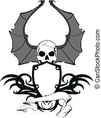skull bat wings sticker tattoo2