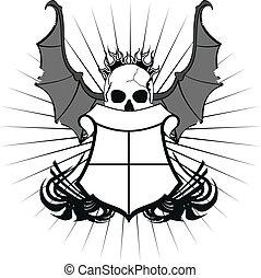 skull bat wings sticker tattoo3
