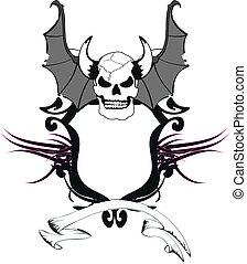 skull bat wings sticker tattoo4