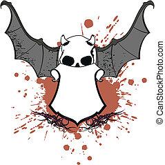 skull bat wings sticker tattoo5