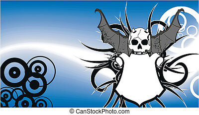 skull bat wings tattoo1
