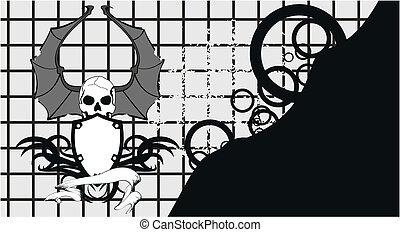 skull bat wings tattoo2