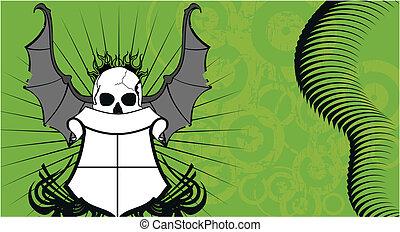 skull bat wings tattoo4