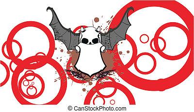 skull bat wings tattoo6