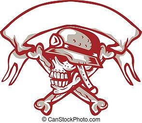 Skull Bike Helmet Crossed Bones Ribbon Retro