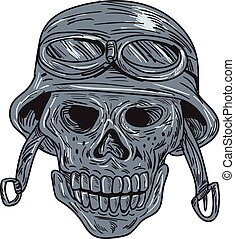 Skull Biker Helmet Drawing