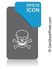Skull black and blue vector pointer icon on white background in eps 10