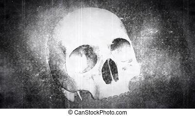 Skull black and white horror loop