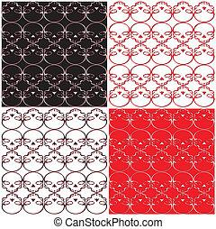 Skull Black Red White Pattern