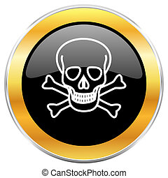 Skull black web icon with golden border isolated on white background. Round glossy button.