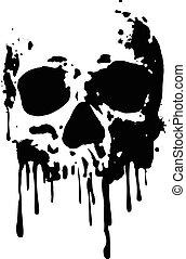 skull blood2 - Abstract vector illustration grunge skull