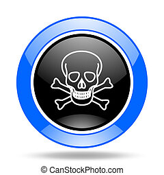 skull blue and black web glossy round icon