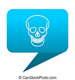 skull blue bubble icon
