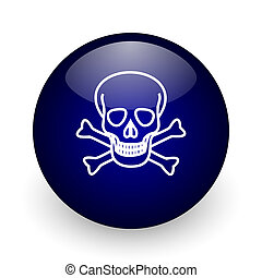 Skull blue glossy ball web icon on white background. Round 3d render button.