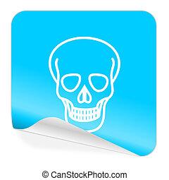 skull blue sticker icon