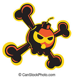 Skull bomb - A colorful skull bomb with bones. Old school...