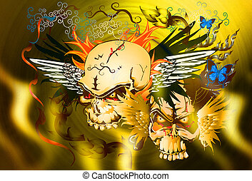skull bone and fire danger