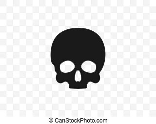 Skull, bone, halloween icon. Vector illustration, flat design.