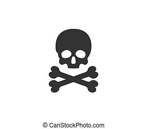 Skull, bone, halloween icon. Vector illustration, flat design.