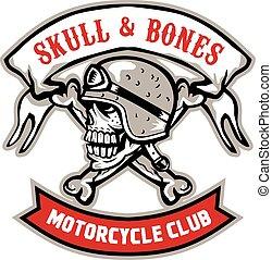 Skull Bones Bike Helmet Ribbon Retro