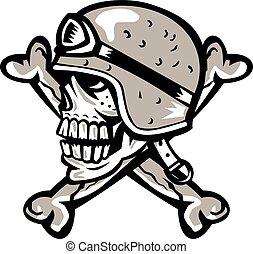 Skull Bones Bike Helmet Side Retro
