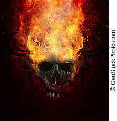 skull., bosquejo, abrasador, tatuaje, fuego, tribal, flourishes, arte