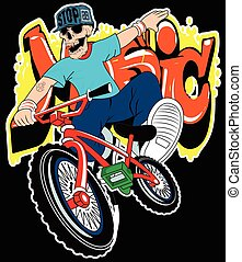 Skull boy on a bicycle vector on a white background