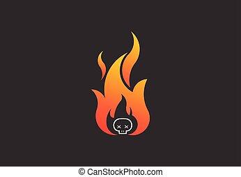 skull., brûler, symbole, vecteur, flamme, logo