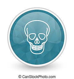 Skull brillant crystal design round blue web icon.