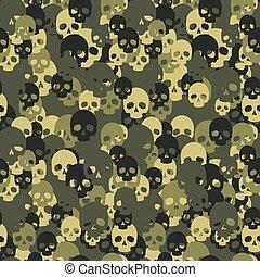 Skull camo seamless pattern. Green camouflage.