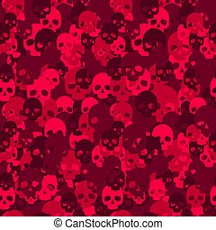 Skull camo seamless pattern. Red camouflage.