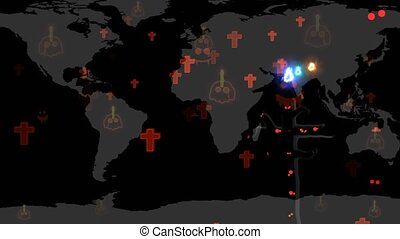 Skull candle on continents while the hungry spirits ghost ...