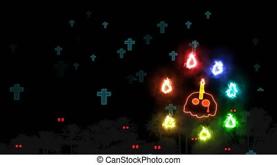 Skull candle scaring to colorful flame spirit ghost in Halloween night and spirits tombs flying and faded