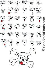 skull cartoon set