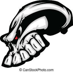 Skull Cartoon with Red Eyes Vector