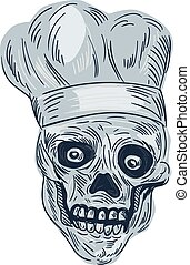 Skull Chef Cook Drawing