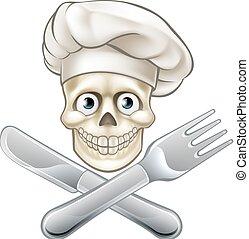 Skull Chef Pirate Cartoon - Pirate chef cartoon skull and...