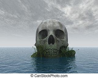 skull - stone skull at ocean - 3d illustration