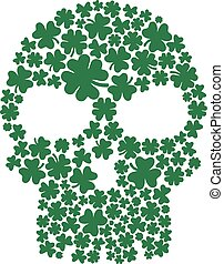 Skull composed with clovers