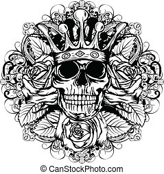 skull corona rose - Vector illustration human death skull in...