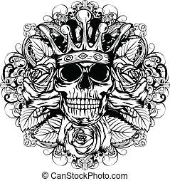 skull corona rose - Vector illustration human death skull in...