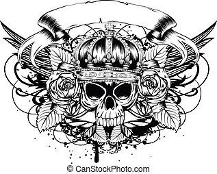 skull corona roses - Vector illustration human death skull ...