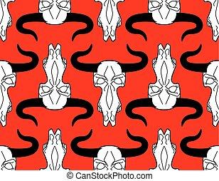 Skull cow pattern. head of skeleton bull background. Death...