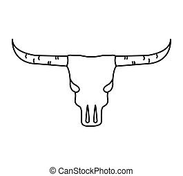 skull cow wild west icon graphic isolated vector