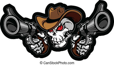Skull Cowboy Aiming Guns - Graphic Image of a Cowboy Skull...