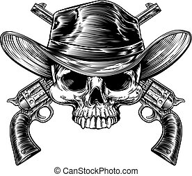 Skull Cowboy and Guns - Cowboy skull in a western hat and a...