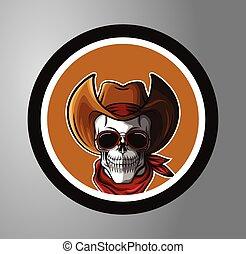 Skull Cowboy Circle sticker