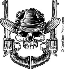 Skull Cowboy Hat and Guns - Skull cowboy in western hat and...