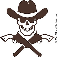 Skull cowboy icon with guns