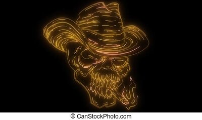 Skull cowboy in a vintage retro video - Skull cowboy in a...